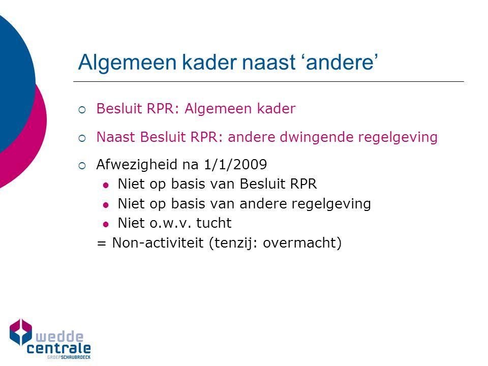 Algemeen kader naast 'andere'  Besluit RPR: Algemeen kader  Naast Besluit RPR: andere dwingende regelgeving  Afwezigheid na 1/1/2009 Niet op basis