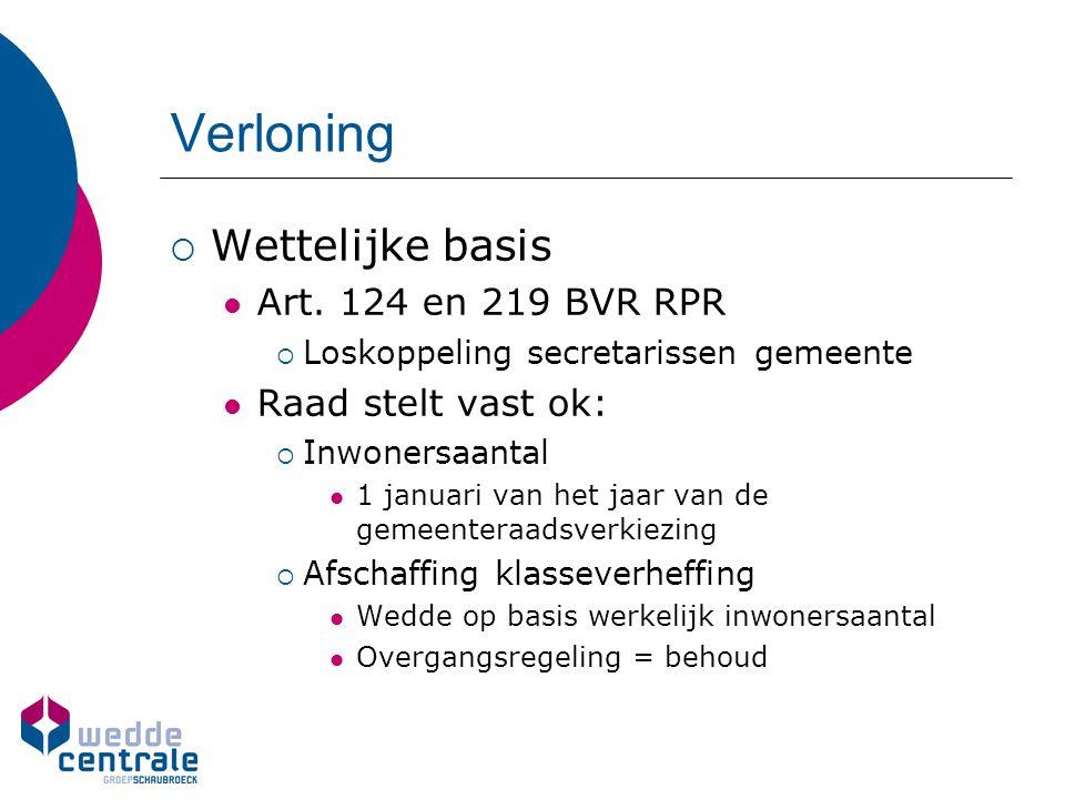  Wettelijke basis Art. 124 en 219 BVR RPR  Loskoppeling secretarissen gemeente Raad stelt vast ok:  Inwonersaantal 1 januari van het jaar van de ge