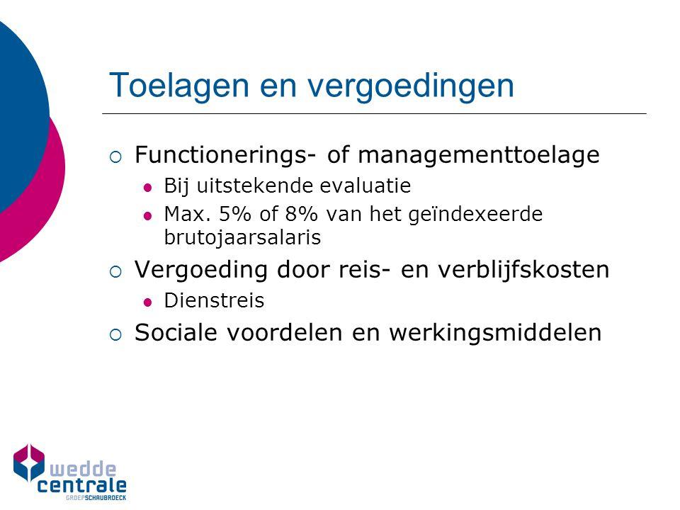 Toelagen en vergoedingen  Functionerings- of managementtoelage Bij uitstekende evaluatie Max. 5% of 8% van het geïndexeerde brutojaarsalaris  Vergoe