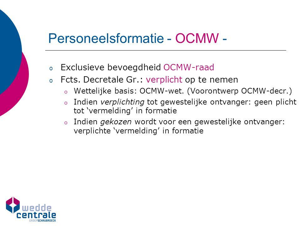 Personeelsformatie - OCMW - o Exclusieve bevoegdheid OCMW-raad o Fcts. Decretale Gr.: verplicht op te nemen o Wettelijke basis: OCMW-wet. (Voorontwerp