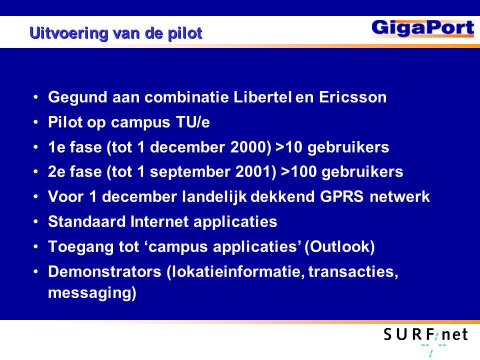 Uitvoering van de pilot Gegund aan combinatie Libertel en Ericsson Pilot op campus TU/e 1e fase (tot 1 december 2000) >10 gebruikers 2e fase (tot 1 se