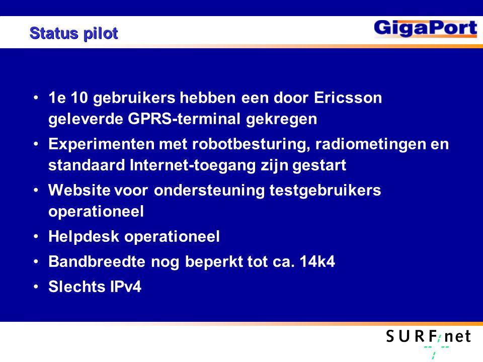 Status pilot 1e 10 gebruikers hebben een door Ericsson geleverde GPRS-terminal gekregen Experimenten met robotbesturing, radiometingen en standaard In