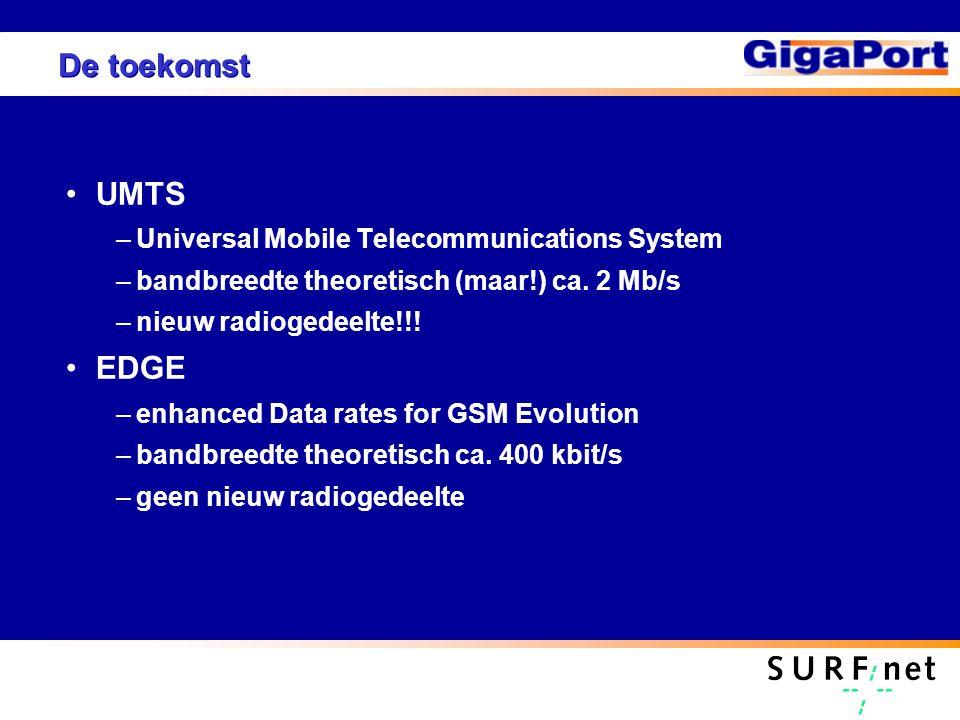 De toekomst UMTS –Universal Mobile Telecommunications System –bandbreedte theoretisch (maar!) ca. 2 Mb/s –nieuw radiogedeelte!!! EDGE –enhanced Data r