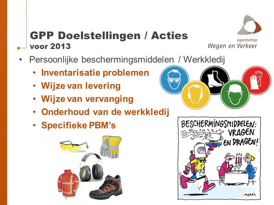 GPP Doelstellingen / Acties voor 2013 Persoonlijke beschermingsmiddelen / Werkkledij Inventarisatie problemen Wijze van levering Wijze van vervanging