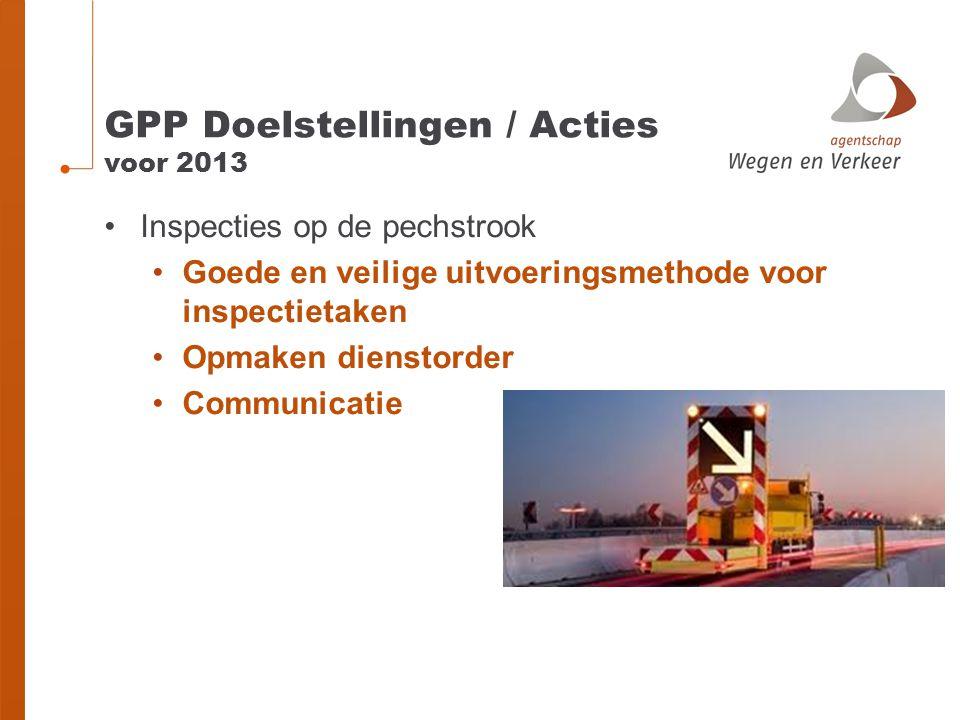 GPP Doelstellingen / Acties voor 2013 Inspecties op de pechstrook Goede en veilige uitvoeringsmethode voor inspectietaken Opmaken dienstorder Communic