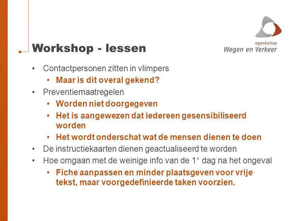 Workshop - lessen Contactpersonen zitten in vlimpers Maar is dit overal gekend? Preventiemaatregelen Worden niet doorgegeven Het is aangewezen dat ied