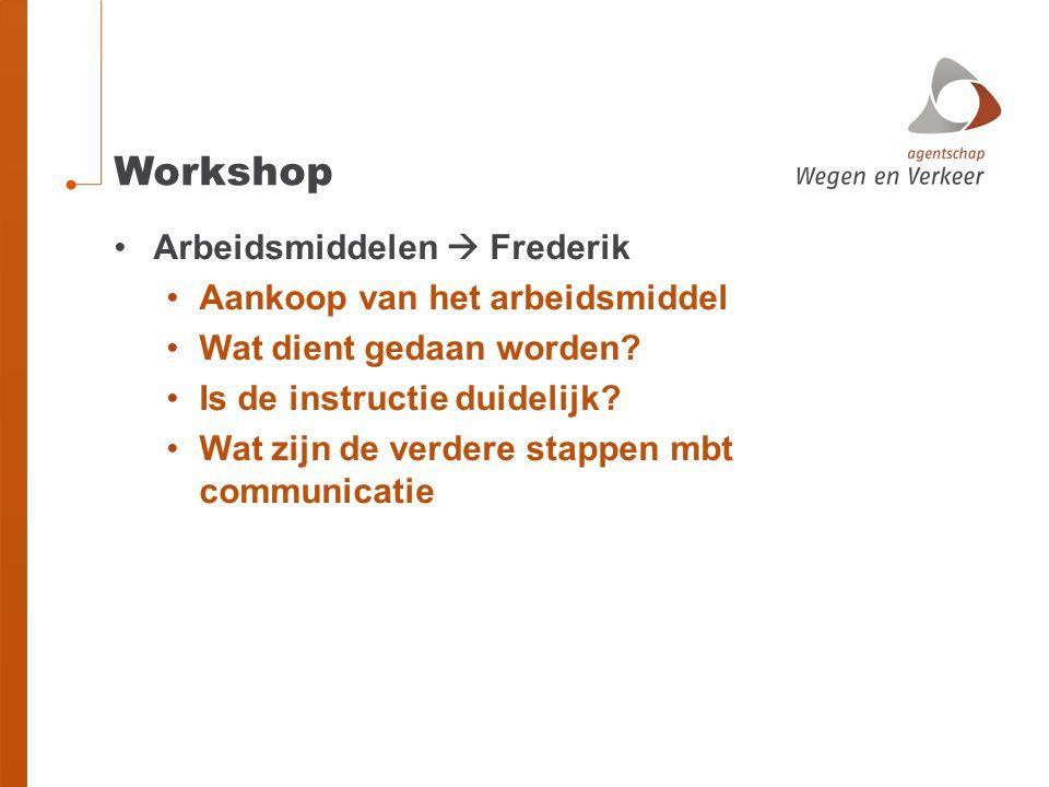 Workshop Arbeidsmiddelen  Frederik Aankoop van het arbeidsmiddel Wat dient gedaan worden? Is de instructie duidelijk? Wat zijn de verdere stappen mbt