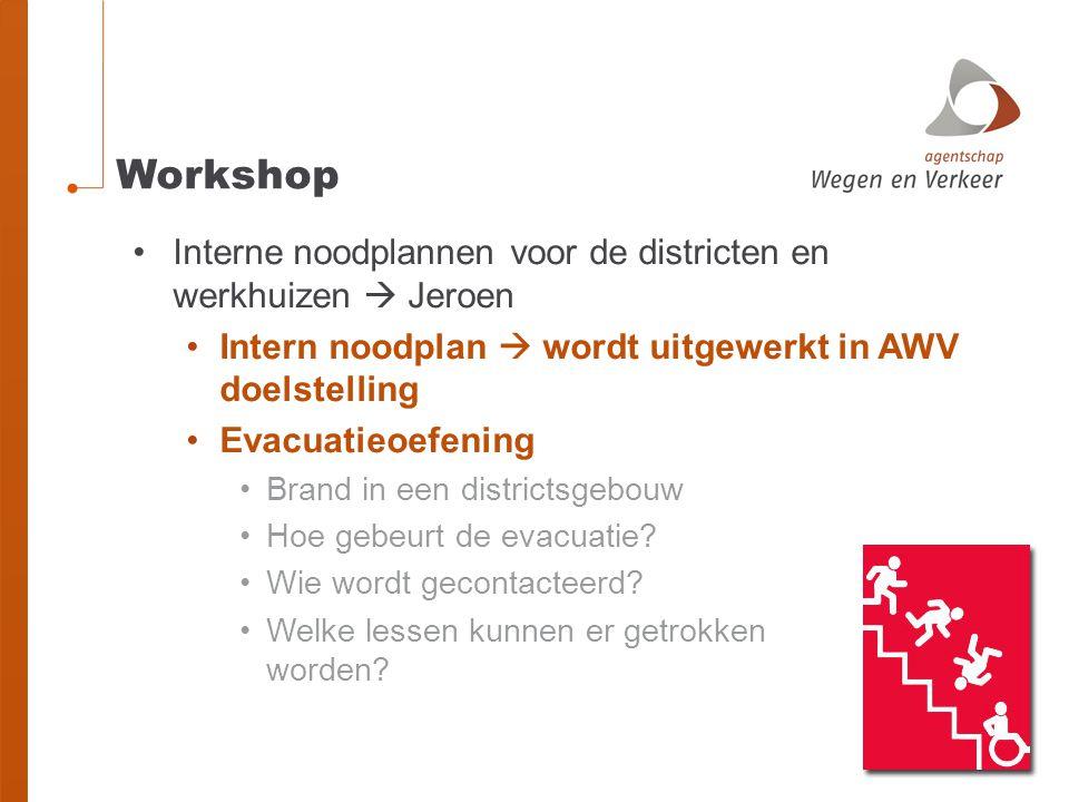 Workshop Interne noodplannen voor de districten en werkhuizen  Jeroen Intern noodplan  wordt uitgewerkt in AWV doelstelling Evacuatieoefening Brand