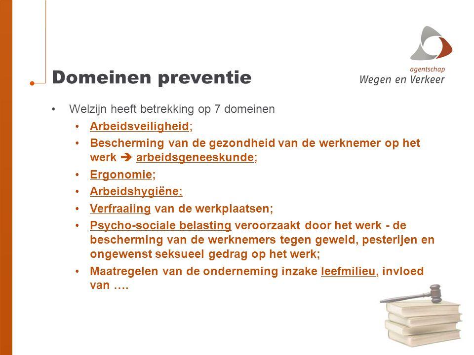 Domeinen preventie Welzijn heeft betrekking op 7 domeinen Arbeidsveiligheid; Bescherming van de gezondheid van de werknemer op het werk  arbeidsgenee