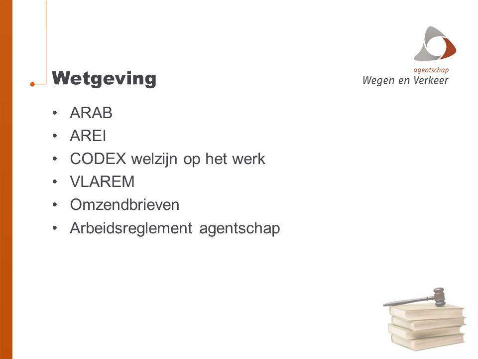 Wetgeving ARAB AREI CODEX welzijn op het werk VLAREM Omzendbrieven Arbeidsreglement agentschap