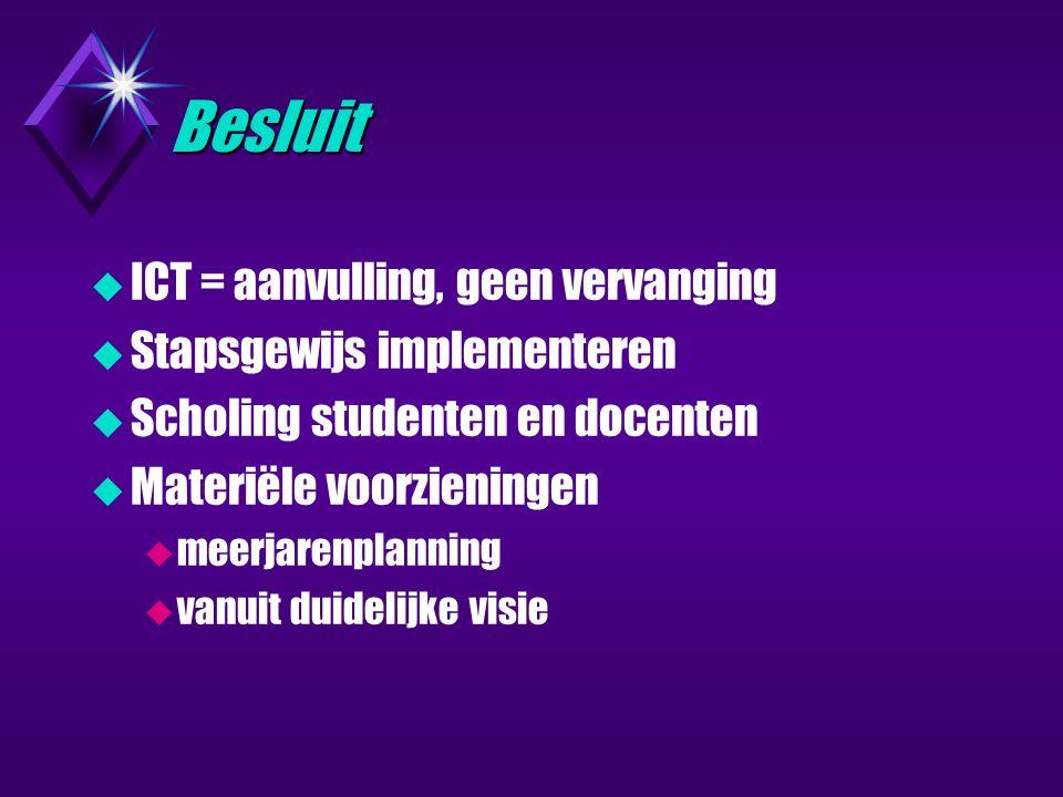 Besluit  ICT = aanvulling, geen vervanging  Stapsgewijs implementeren  Scholing studenten en docenten  Materiële voorzieningen  meerjarenplanning  vanuit duidelijke visie