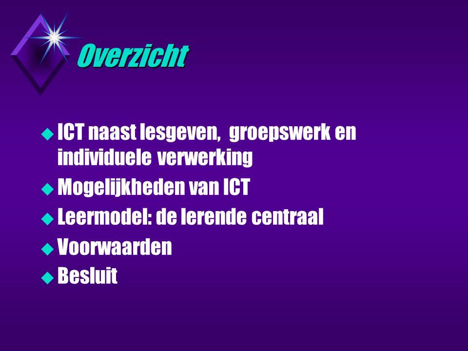 Overzicht  ICT naast lesgeven, groepswerk en individuele verwerking  Mogelijkheden van ICT  Leermodel: de lerende centraal  Voorwaarden  Besluit