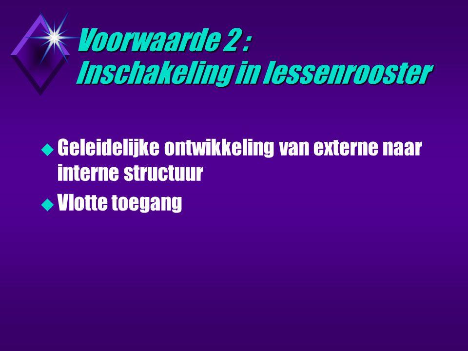 Voorwaarde 2 : Inschakeling in lessenrooster  Geleidelijke ontwikkeling van externe naar interne structuur  Vlotte toegang