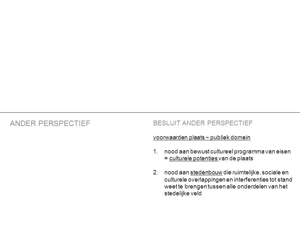 BESLUIT ANDER PERSPECTIEF voorwaarden plaats ~ publiek domein 1.nood aan bewust cultureel programma van eisen = culturele potenties van de plaats 2.nood aan stedenbouw die ruimtelijke, sociale en culturele overlappingen en interferenties tot stand weet te brengen tussen alle onderdelen van het stedelijke veld ANDER PERSPECTIEF