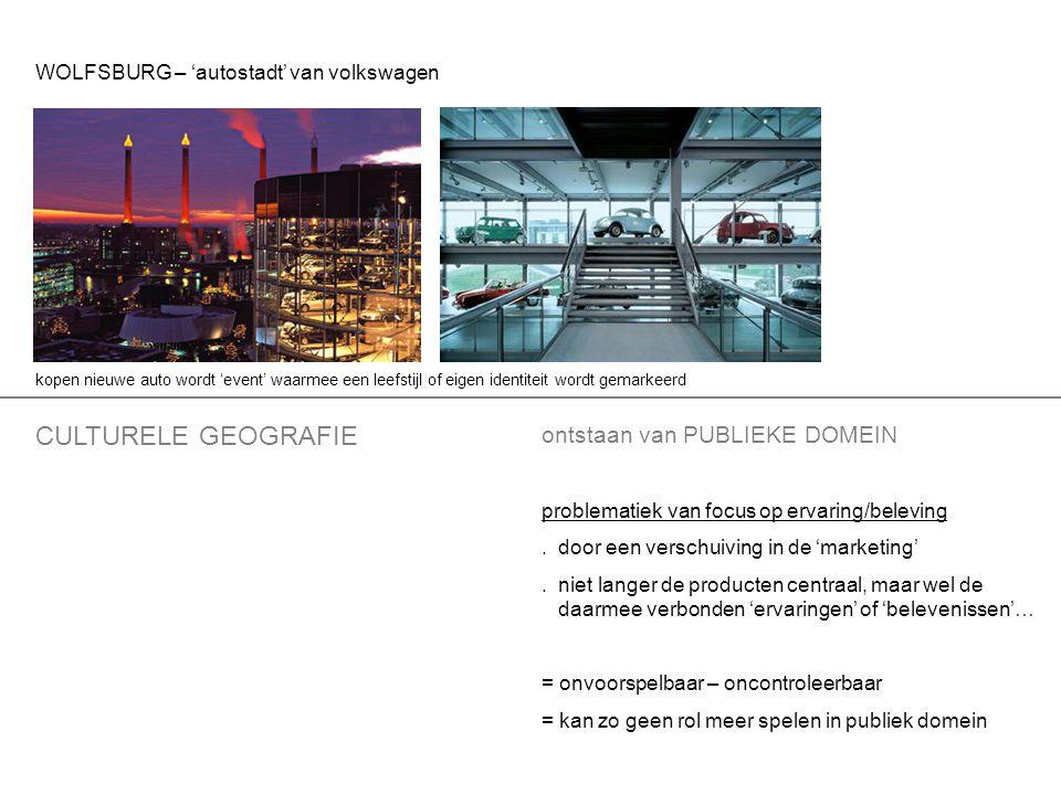 CULTURELE GEOGRAFIE ontstaan van PUBLIEKE DOMEIN problematiek van focus op ervaring/beleving.