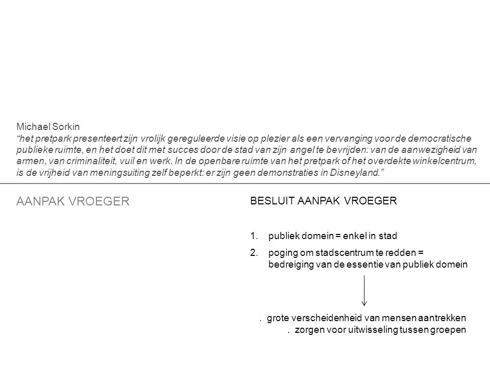 BESLUIT AANPAK VROEGER 1.publiek domein = enkel in stad 2.poging om stadscentrum te redden = bedreiging van de essentie van publiek domein AANPAK VROEGER.