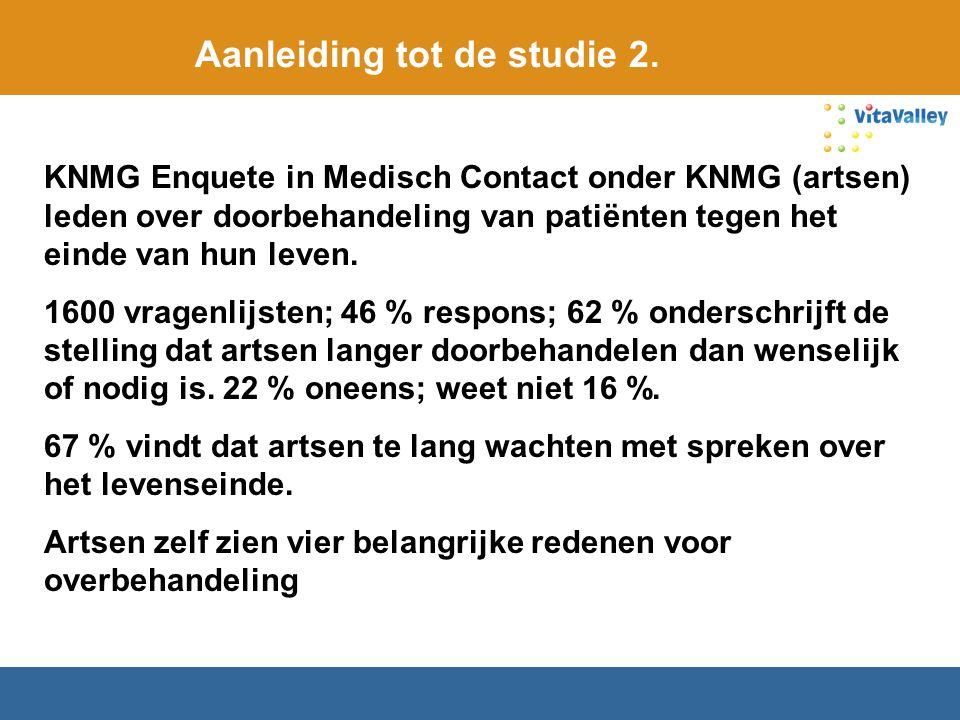 Aanleiding tot de studie 2. KNMG Enquete in Medisch Contact onder KNMG (artsen) leden over doorbehandeling van patiënten tegen het einde van hun leven