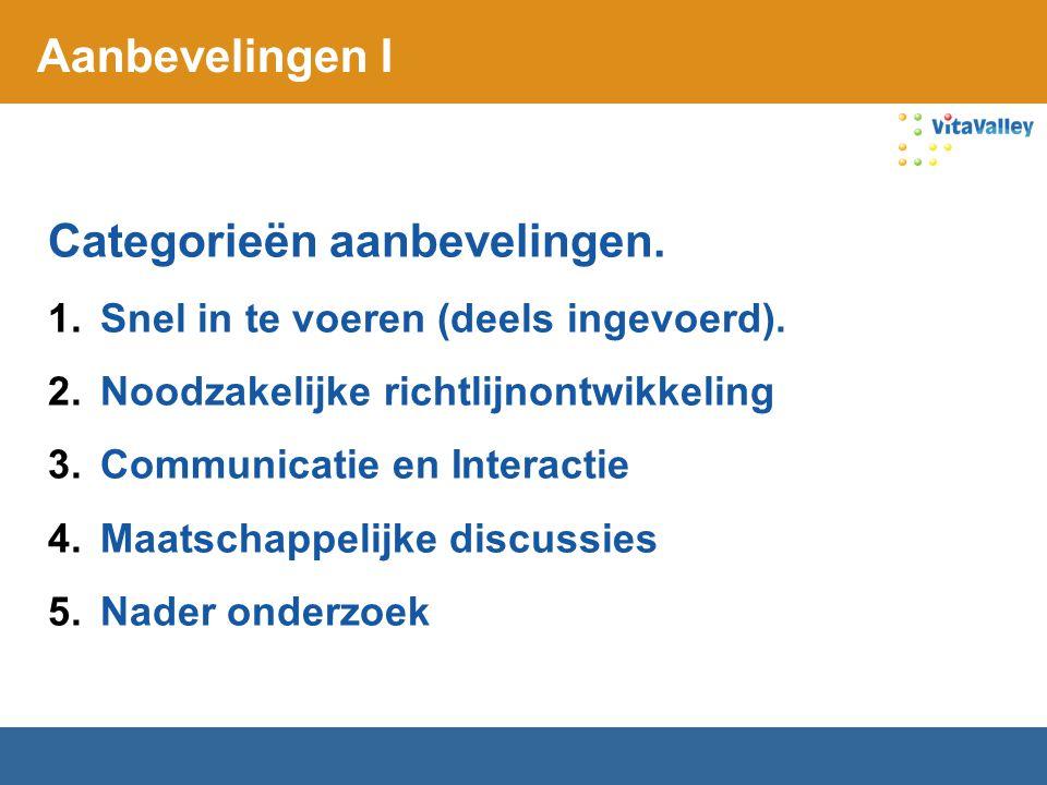 Aanbevelingen I Categorieën aanbevelingen. 1.Snel in te voeren (deels ingevoerd). 2.Noodzakelijke richtlijnontwikkeling 3.Communicatie en Interactie 4