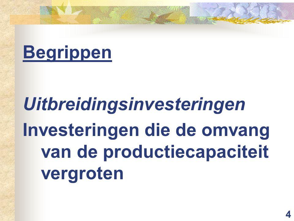 5 Begrippen Breedte-investeringen Uitbreidingsinvestering waarbij de arbeidsproductiviteit gelijk blijft