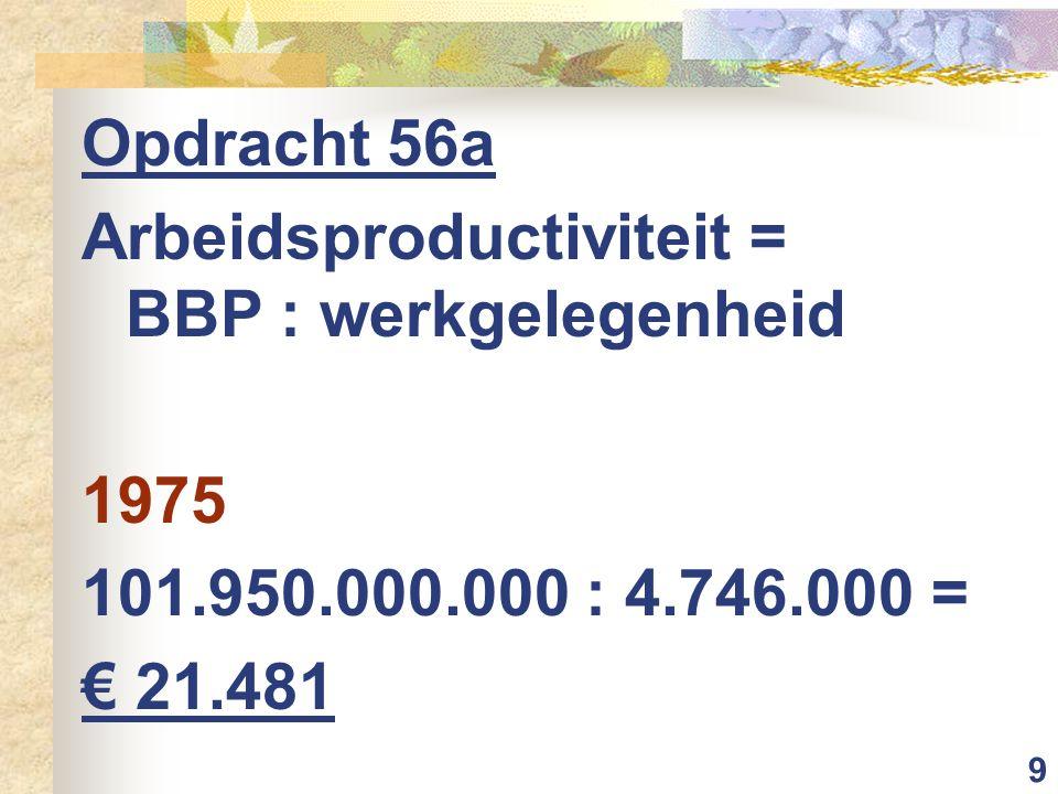 10 Opdracht 56a Arbeidsproductiviteit = BBP : werkgelegenheid 1985 193.427.000.000 : 4.762.000 = € 40.619