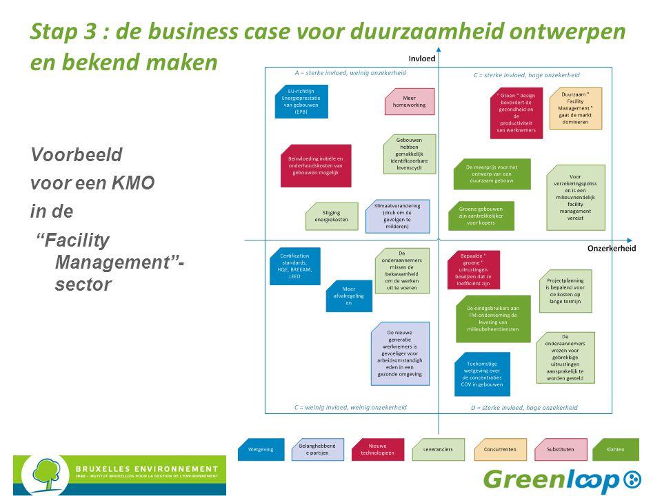 """Voorbeeld voor een KMO in de """"Facility Management""""- sector Stap 3 : de business case voor duurzaamheid ontwerpen en bekend maken"""