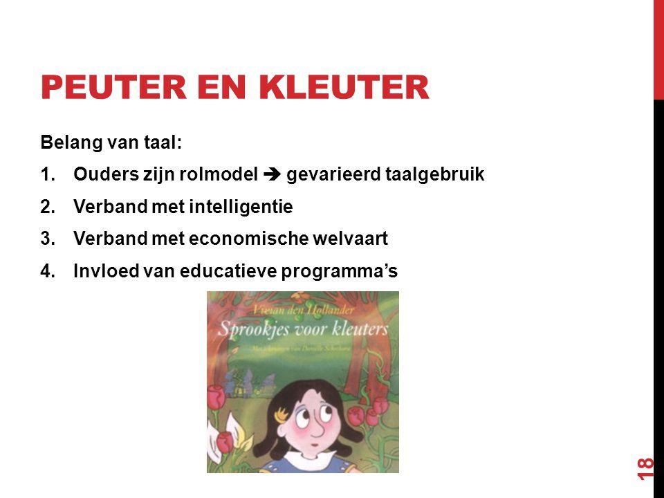 PEUTER EN KLEUTER Belang van taal: 1.Ouders zijn rolmodel  gevarieerd taalgebruik 2.Verband met intelligentie 3.Verband met economische welvaart 4.In