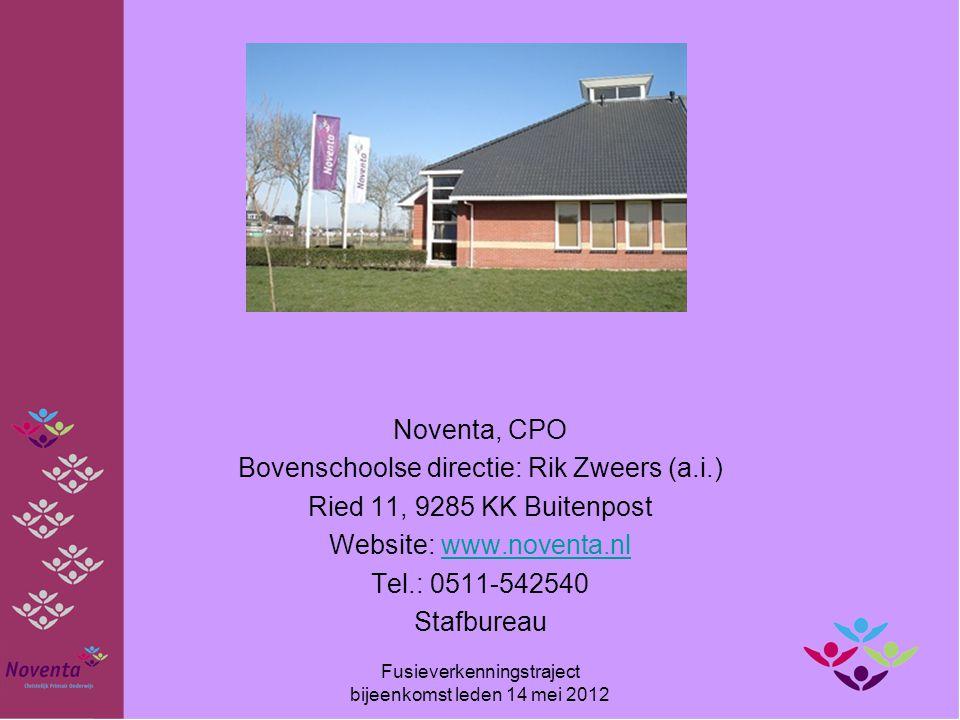 Noventa, CPO Bovenschoolse directie: Rik Zweers (a.i.) Ried 11, 9285 KK Buitenpost Website: www.noventa.nlwww.noventa.nl Tel.: 0511-542540 Stafbureau