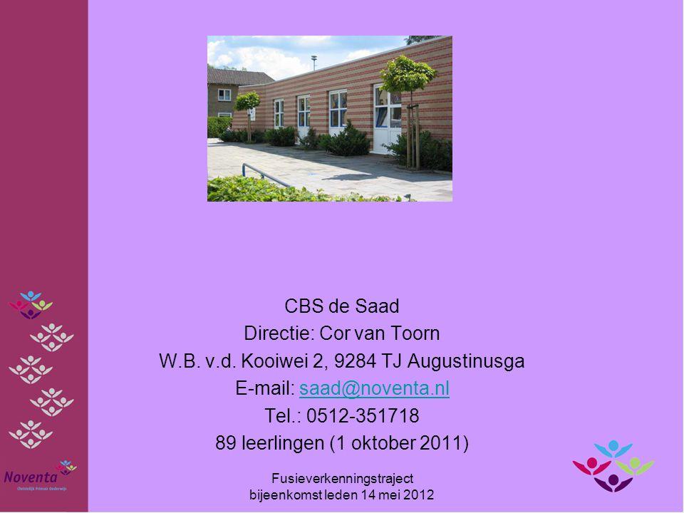 CBS de Saad Directie: Cor van Toorn W.B. v.d. Kooiwei 2, 9284 TJ Augustinusga E-mail: saad@noventa.nlsaad@noventa.nl Tel.: 0512-351718 89 leerlingen (