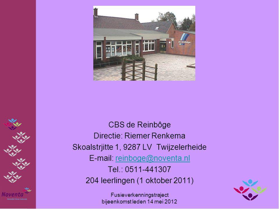 CBS de Reinbôge Directie: Riemer Renkema Skoalstrjitte 1, 9287 LV Twijzelerheide E-mail: reinboge@noventa.nlreinboge@noventa.nl Tel.: 0511-441307 204