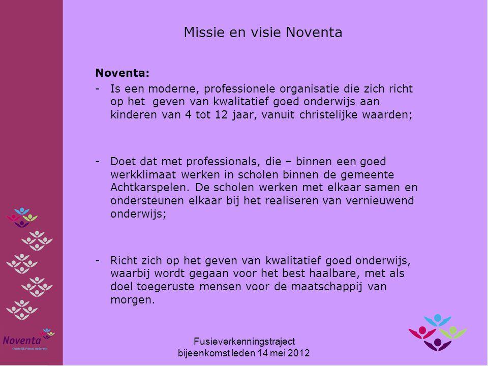 Missie en visie Noventa Noventa: -Is een moderne, professionele organisatie die zich richt op het geven van kwalitatief goed onderwijs aan kinderen va