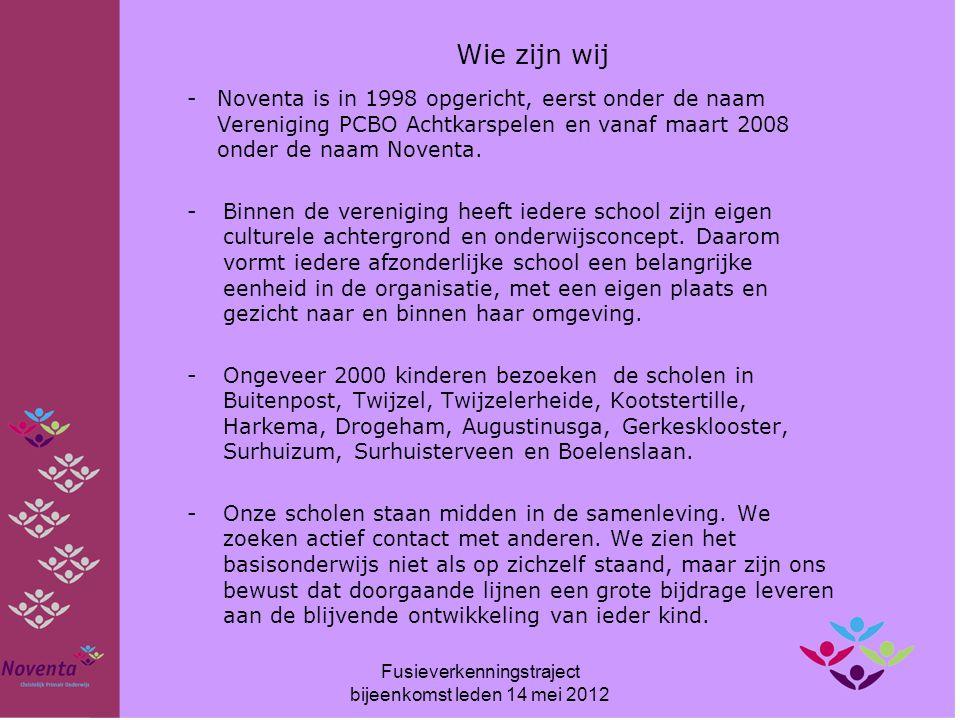 CBS de Wynroas Directie: Jan Reinsma Ikeloane 10, 9281 RB Harkema E-mail: wynroas@noventa.nlwynroas@noventa.nl Tel.: 0512-361711 280 leerlingen (1 oktober 2011) Fusieverkenningstraject bijeenkomst leden 14 mei 2012