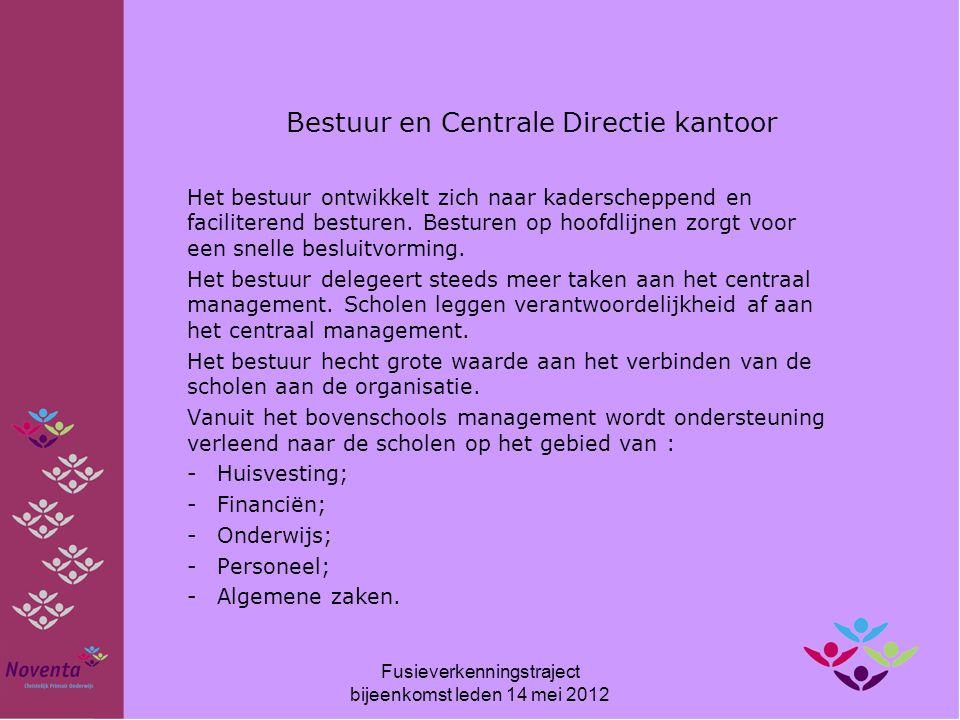 Centraal kantoor Noventa: - Voorzitter Centrale Directie a.i.: Rik Zweers -Stafmedewerker P & O a.i.: Gerrit Visser -Bovenschoolse ICT-er: Henk Visser -Secretaresse (ma/di):Natascha Mulder Lianne Smit (vervanger) -Secretaresse (woe t/m vrijdag):Mascha de Hek -Medewerker Vervanging:Geeske Pijl -Projectmedewerker Jubilea:Nathalie Bevers Fusieverkenningstraject bijeenkomst leden 14 mei 2012