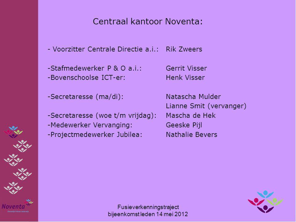Centraal kantoor Noventa: - Voorzitter Centrale Directie a.i.: Rik Zweers -Stafmedewerker P & O a.i.: Gerrit Visser -Bovenschoolse ICT-er: Henk Visser