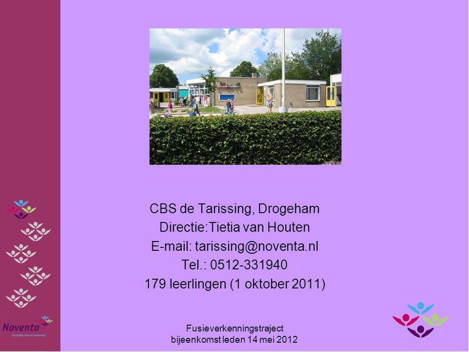 CBS de Tarissing, Drogeham Directie:Tietia van Houten E-mail: tarissing@noventa.nl Tel.: 0512-331940 179 leerlingen (1 oktober 2011) Fusieverkenningst
