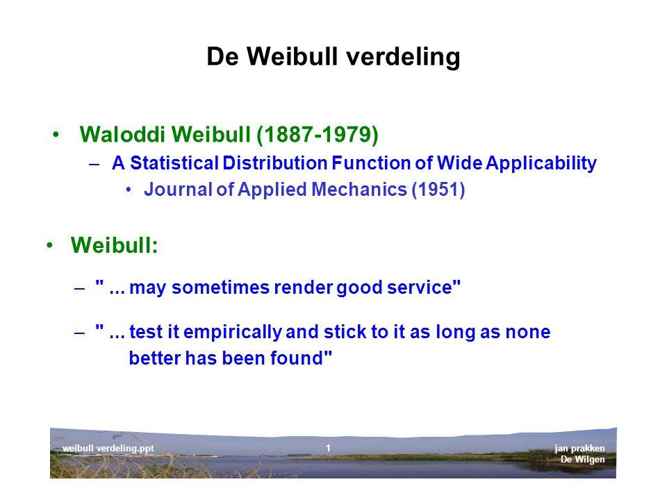 jan prakken De Wilgen weibull verdeling.ppt1 De Weibull verdeling Weibull: Waloddi Weibull (1887-1979) –A Statistical Distribution Function of Wide Applicability Journal of Applied Mechanics (1951) – ...