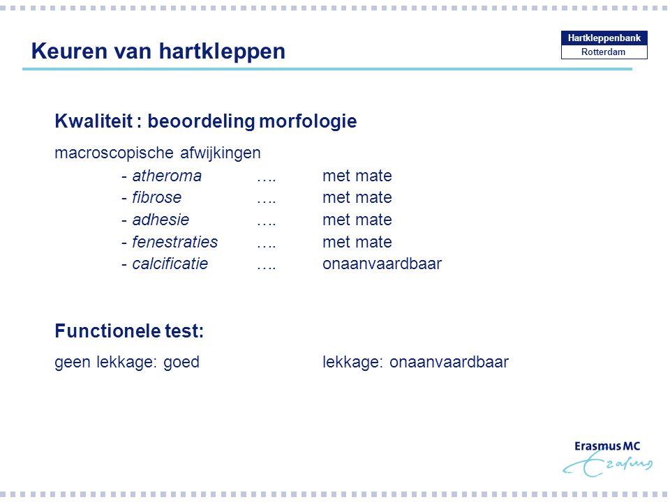 Keuren van hartkleppen Rotterdam Hartkleppenbank Kwaliteit : beoordeling morfologie macroscopische afwijkingen - atheroma….met mate - fibrose ….met mate - adhesie….met mate - fenestraties….met mate - calcificatie….