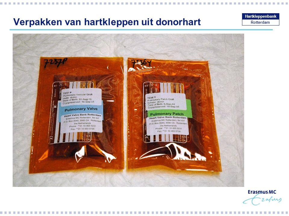 Verpakken van hartkleppen uit donorhart Rotterdam Hartkleppenbank