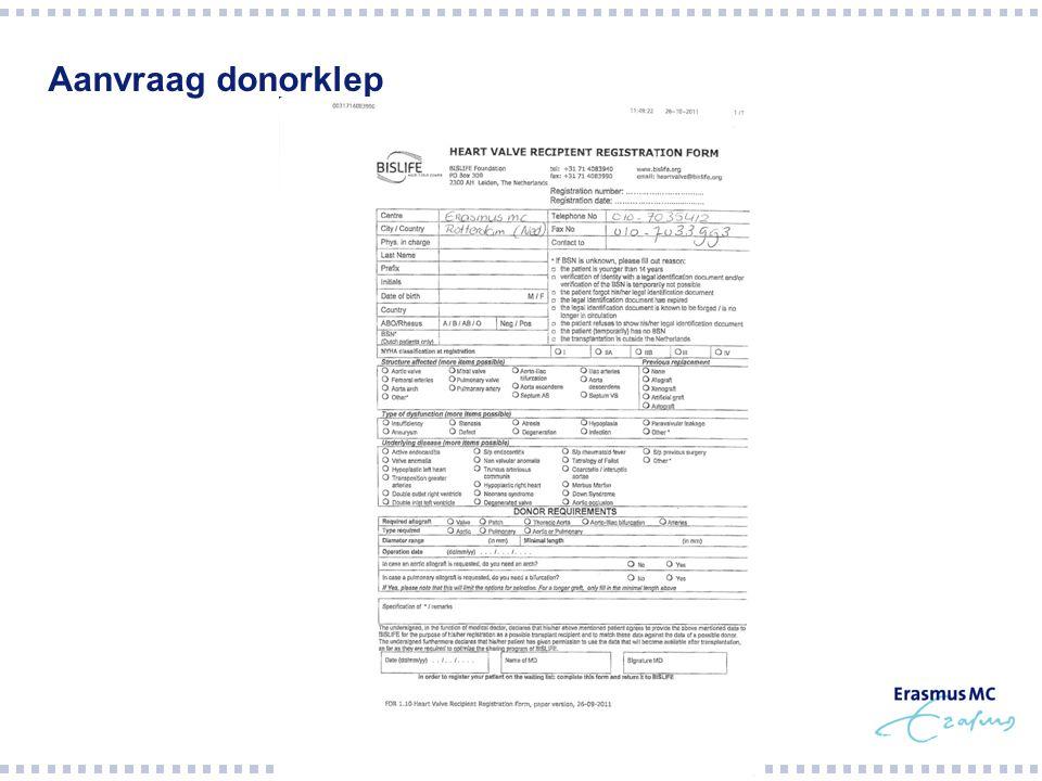 Aanvraag donorklep