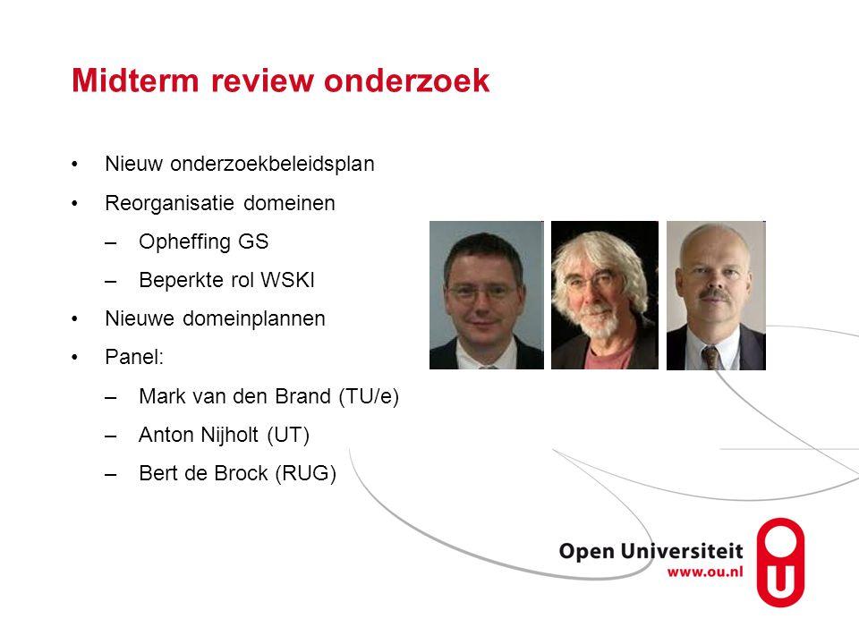 Midterm review onderzoek Nieuw onderzoekbeleidsplan Reorganisatie domeinen –Opheffing GS –Beperkte rol WSKI Nieuwe domeinplannen Panel: –Mark van den Brand (TU/e) –Anton Nijholt (UT) –Bert de Brock (RUG)