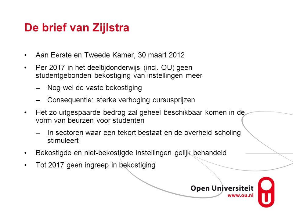 De brief van Zijlstra Aan Eerste en Tweede Kamer, 30 maart 2012 Per 2017 in het deeltijdonderwijs (incl.
