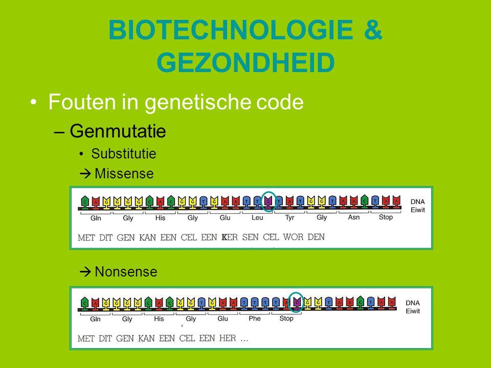 BIOTECHNOLOGIE & GEZONDHEID Fouten in genetische code –Genmutatie Substitutie  Missense  Nonsense