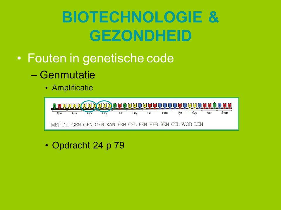 BIOTECHNOLOGIE & GEZONDHEID Fouten in genetische code –Genmutatie Amplificatie Opdracht 24 p 79