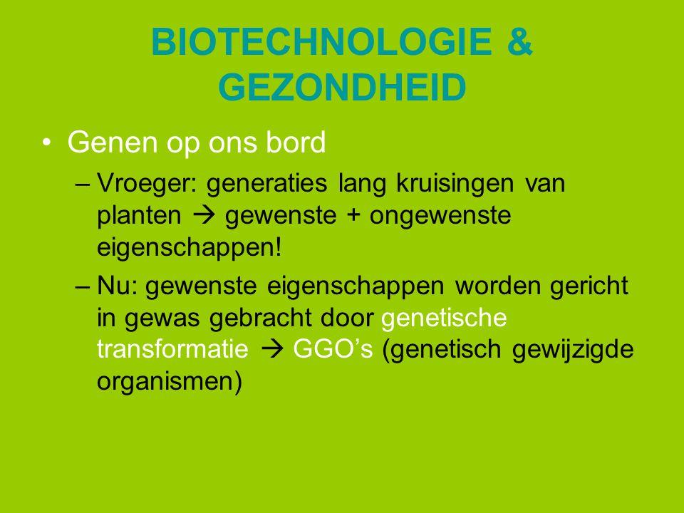 BIOTECHNOLOGIE & GEZONDHEID Genen op ons bord –Vroeger: generaties lang kruisingen van planten  gewenste + ongewenste eigenschappen! –Nu: gewenste ei