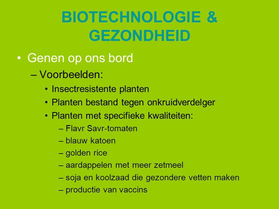 BIOTECHNOLOGIE & GEZONDHEID Genen op ons bord –Voorbeelden: Insectresistente planten Planten bestand tegen onkruidverdelger Planten met specifieke kwa