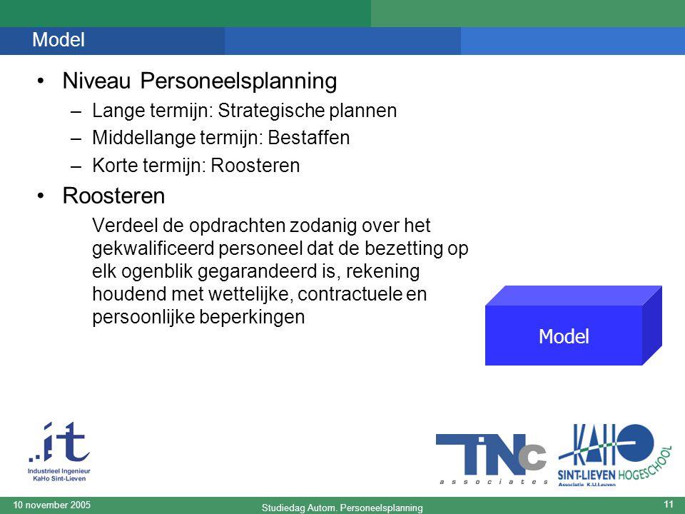 Studiedag Autom. Personeelsplanning 10 november 2005 11 Model Niveau Personeelsplanning –Lange termijn: Strategische plannen –Middellange termijn: Bes