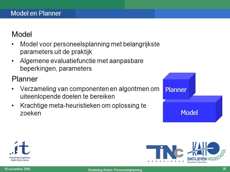 Studiedag Autom. Personeelsplanning 10 november 2005 26 Model en Planner Model Model voor personeelsplanning met belangrijkste parameters uit de prakt