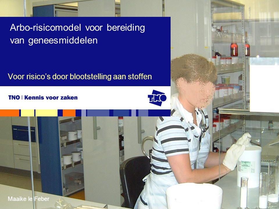 Maaike le Feber Voor risico's door blootstelling aan stoffen Arbo-risicomodel voor bereiding van geneesmiddelen