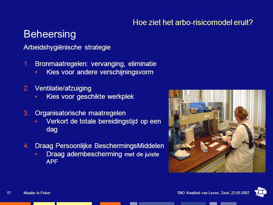 TNO Kwaliteit van Leven, Zeist, 22-05-2007Maaike le Feber18 Hoe ziet het arbo-risicomodel eruit.