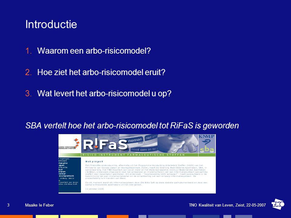 TNO Kwaliteit van Leven, Zeist, 22-05-2007Maaike le Feber3 Introductie 1.Waarom een arbo-risicomodel? 2.Hoe ziet het arbo-risicomodel eruit? 3.Wat lev