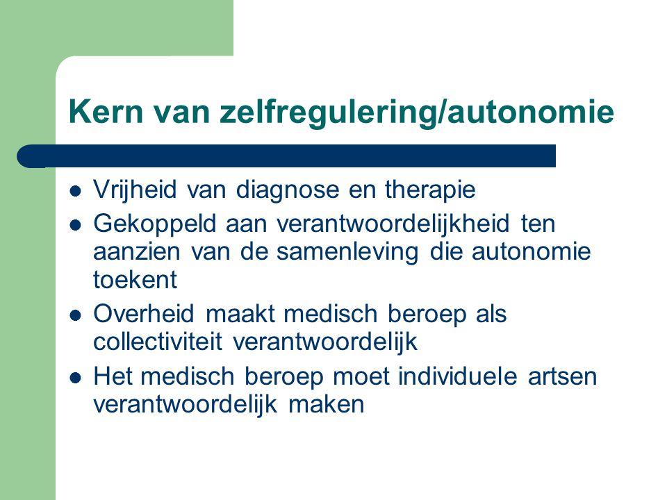 Kern van zelfregulering/autonomie Vrijheid van diagnose en therapie Gekoppeld aan verantwoordelijkheid ten aanzien van de samenleving die autonomie to